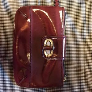 Anne Taylor red patent leather clutch
